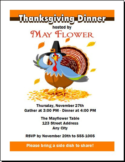 Turkey Thanksgiving Dinner Party Invitation
