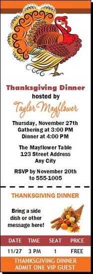 Beautiful Turkey Thanksgiving Party Ticket Invitation