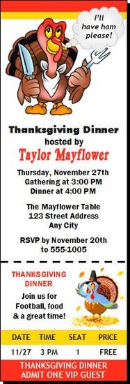 Cartoon Turkey Thanksgiving Party Ticket Invitation