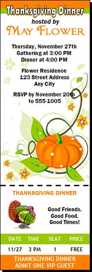 Colors of Fall Thanksgiving Party Ticket Invitation