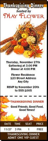 Cornucopia Thanksgiving Party Ticket Invitation