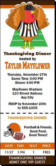Football & Turkey Thanksgiving Party Ticket Invitation