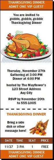 Thanksgiving Dinner Party Ticket Invitation