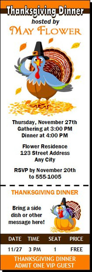 Turkey Thanksgiving Party Ticket Invitation