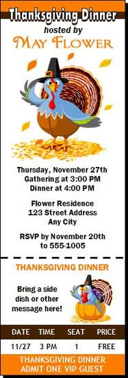 Turkey Thanksgiving Party Ticket Invitation