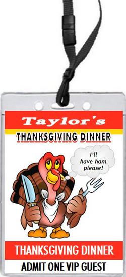 Cartoon Turkey Thanksgiving Dinner VIP Pass Invitation Front