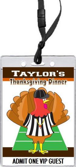 Football & Turkey Thanksgiving Dinner VIP Pass Invitation Front