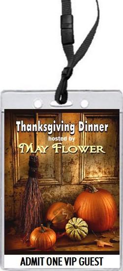 Welcome Door Thanksgiving Dinner VIP Pass Invitation Front