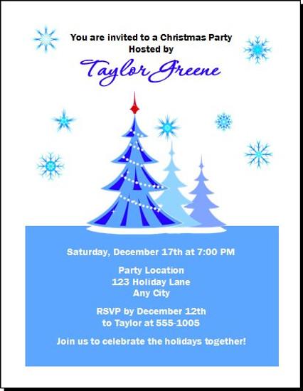 Blue Christmas Party Invitation