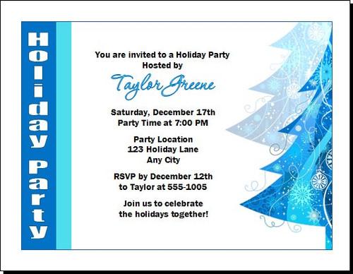 Blue Tree Holiday Party Invitation