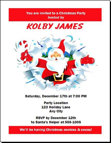 Cartoon Santa Christmas Party Invitation