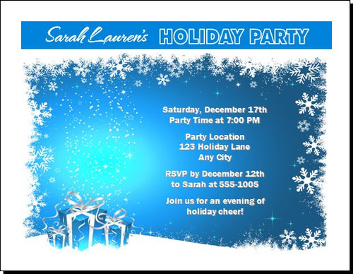 Gifts on Blue with Snowflakes Christmas Party Invitation