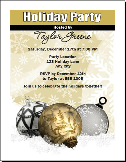 Golden Holiday Party Invitation