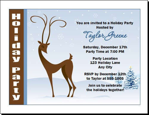 Holiday Reindeer Party Invitation