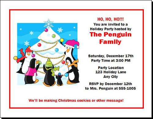 Penguin Family Christmas Party Invitation