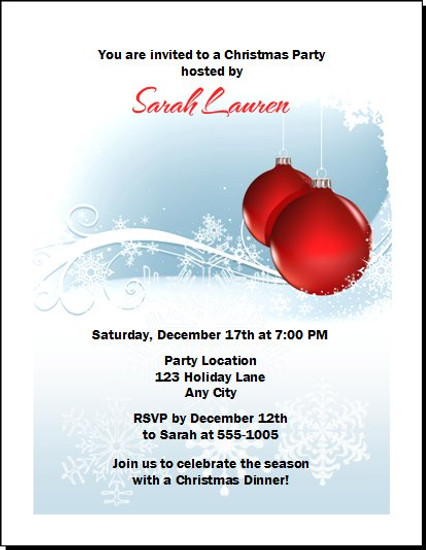 Red Ornament Christmas Party Invitation