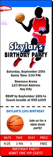 Basketball Red Blue Birthday Party Ticket Invitation