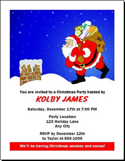 Rooftop Santa Christmas Party Invitation