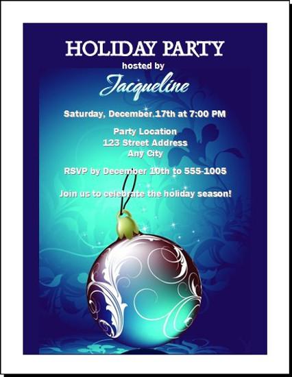 Royal Blue Holiday Party Invitation
