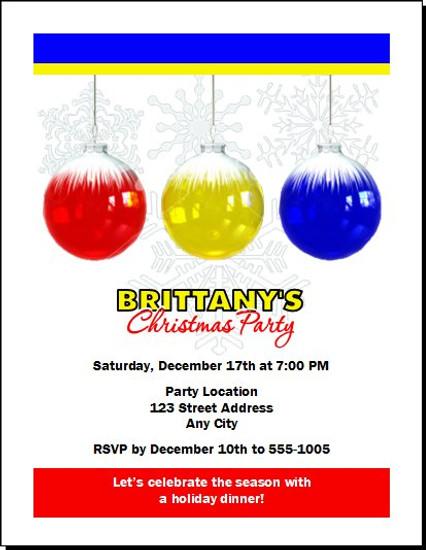 Snowflake Ornament Holiday Party Invitation