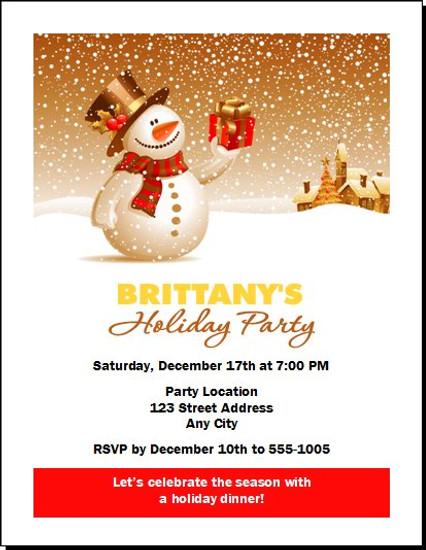 Snowy Night Holiday Party Invitation