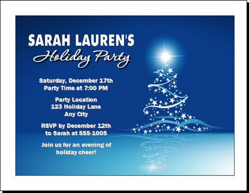 Star Tree on Blue Holiday Party Invitation