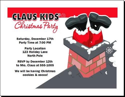 Stuck Santa Christmas Party Invitation