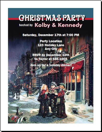 Townsquare Carolers Christmas Party Invitation