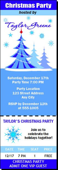 Blue Christmas Party Ticket Invitation