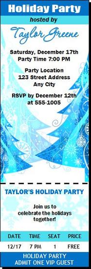 Blue Tree Holiday Party Ticket Invitation