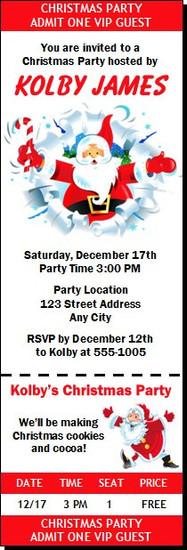 Cartoon Santa Christmas Party Ticket Invitation