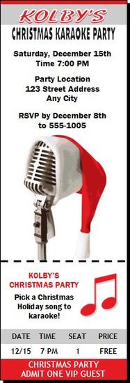 Christmas Karaoke Party Ticket Invitation