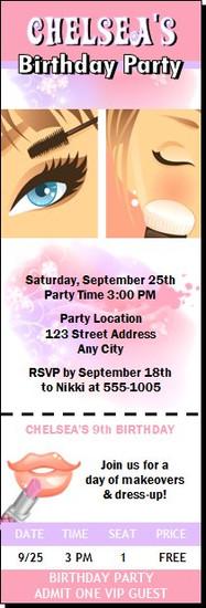 Beauty Queen Birthday Party Ticket Invitation