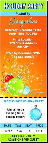 Festive Holiday Party Ticket Invitation