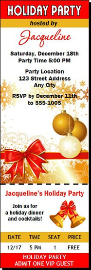 Gift Wrapped Holiday Party Ticket Invitation