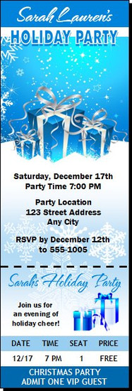 Gifts on Blue with Snowflakes Holiday Party Ticket Invitation