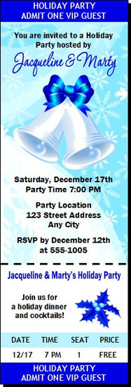 Holiday Bells Party Ticket Invitation
