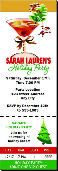 Holiday Cocktail Party Ticket Invitation