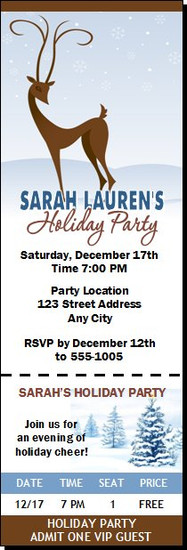 Holiday Reindeer Christmas Party Ticket Invitation