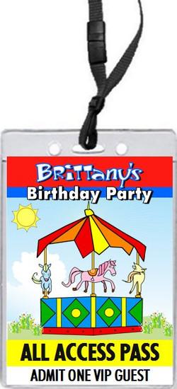Carousel Birthday Party VIP Pass Invitation