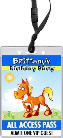 Cartoon Horse Birthday Party VIP Pass Invitation