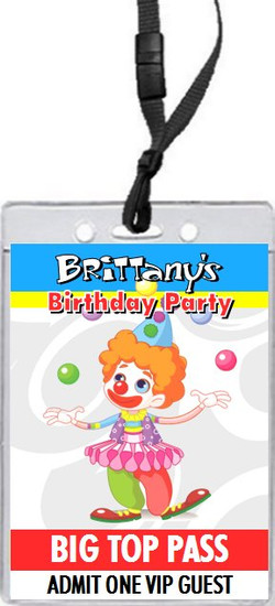 Circus Clown Birthday Party VIP Pass Invitation