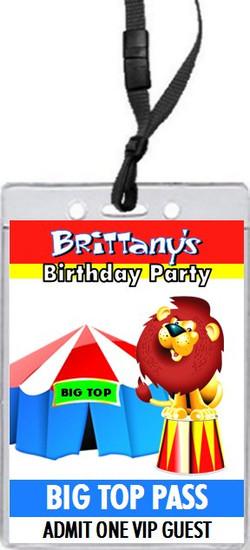 Circus Birthday Party VIP Pass Invitation