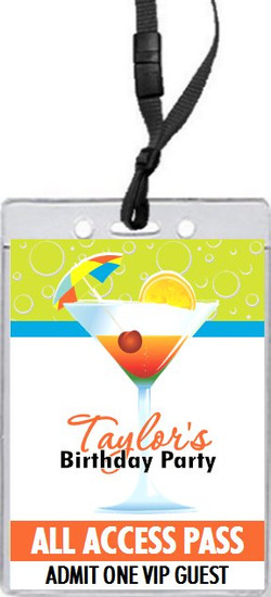 Cocktail Time Birthday Party VIP Pass Invitation