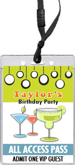 Cocktails Retro Birthday Party VIP Pass Invitation