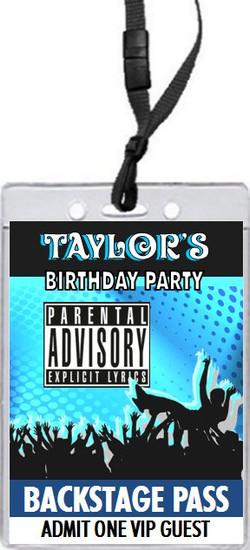 Crowd Surf Explicit Lyrics Birthday Party VIP Pass Invitation