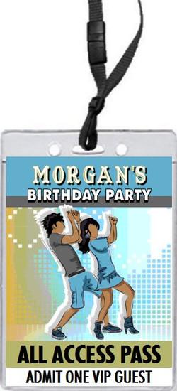 Dancing Teens Birthday Party VIP Pass Invitation Blue