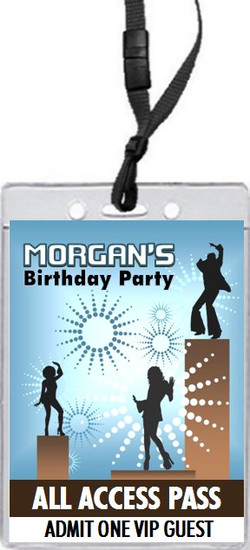 Dancing Birthday Party VIP Pass Invitation Blue