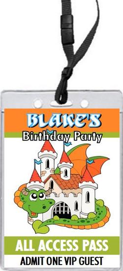 Dragon Fortress Birthday Party VIP Pass Invitation