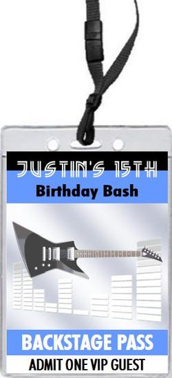 Electric Guitar Birthday Party VIP Pass Invitation